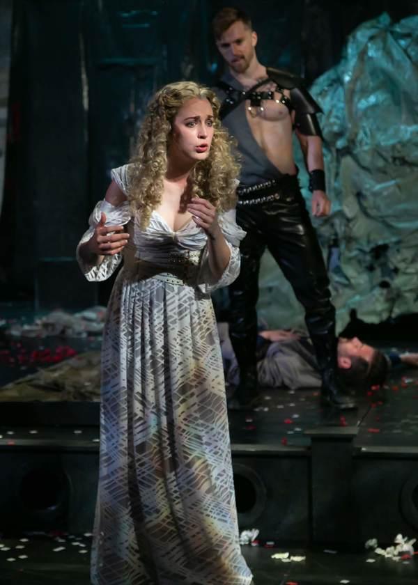 Fiona Robberson as Lavinia and Torsten Johnson as Demetrius. Photo credit: Jerry Dali Photo