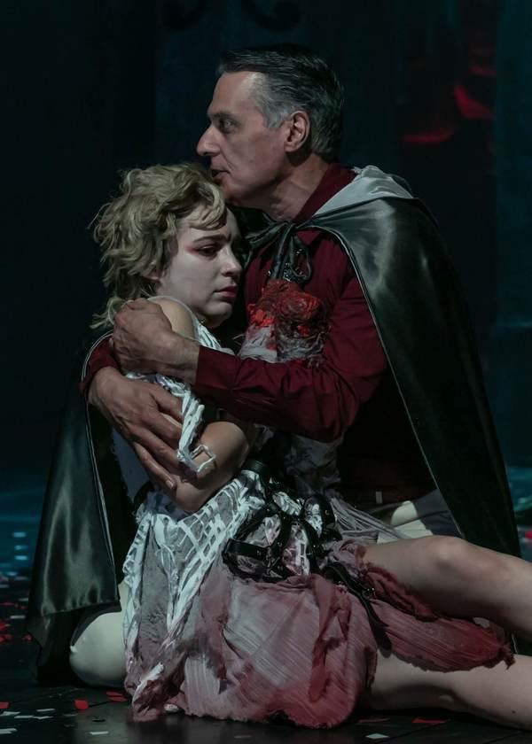 Fiona Robberson as Lavinia and Robert Cuccioli as Marcus. Photo credit: Jerry Dalia. Photo