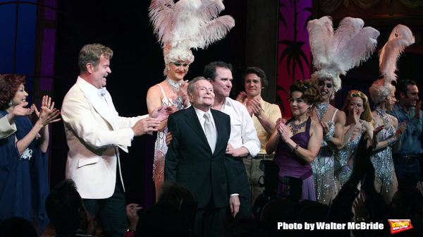 """Kelsey Grammer, Douglas Hodges, Jerry Herman, Christine Andreas during the Broadway Opening Night Performance Curtain Call for  """"La Cage Aux Folles""""  at the Longacre Theatre in New York City. April 18, 2010"""