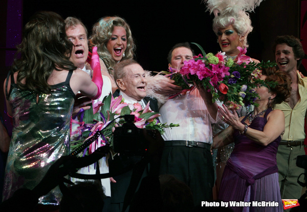 """Kelsey Grammer, Jerry Herman, Douglas Hodges, Christine Andreas with ensemble cast during the Broadway Opening Night Performance Curtain Call for  """"La Cage Aux Folles""""  at the Longacre Theatre in New York City. April 18, 2010"""
