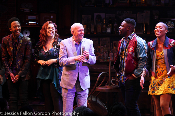 Mike Stoller and the cast of SMOKEY JOE'S CAFE
