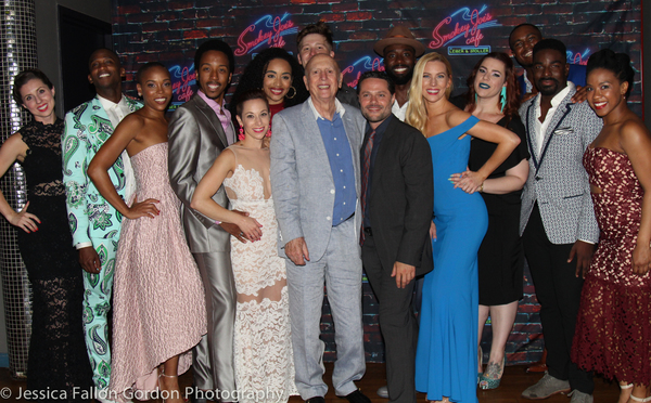 Alison Solomon, Mike Stoller, Joshua Bergasse and the cast of SMOKEY JOE'S CAFE