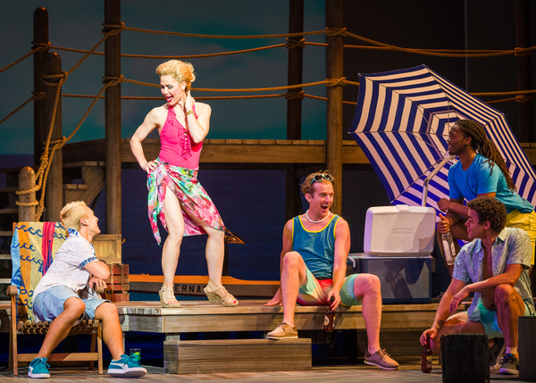 Ann Michels, Emilio Ramos, Ben Bakken, and the cast of Mamma Mia! Photo