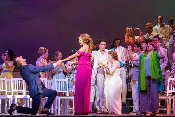 Dieter Bierbrauer, Christine Sherrill, and the cast of Mamma Mia!
