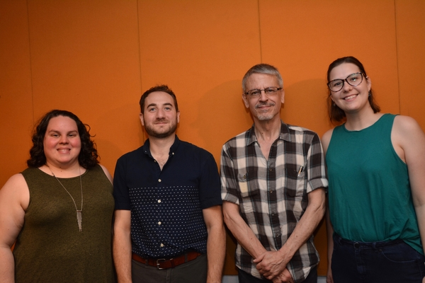 Kristy Bodall (Stage Manager), Steven Mazzoccone (Assistant Director), Chris Clark (Production Stage Manager) and Sam Key (Wardrobe Supervisor)