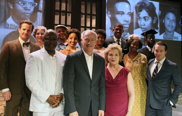 Harvey  Butler  (producer),  Arkansas  Governor  Asa  Hutchinson  (center),  Arkansas  First  Lady  Susan  Hutchinson  and  the  cast  of  Little  Rock