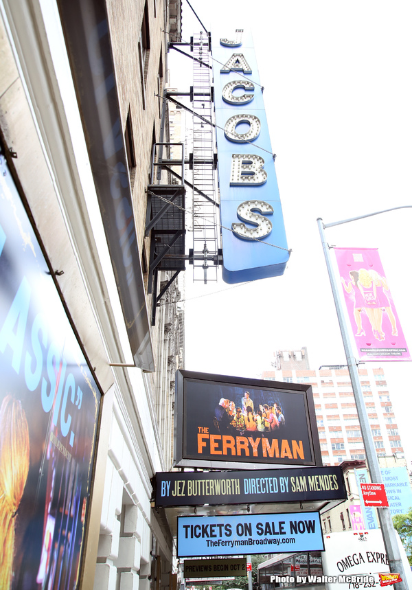 Broadway Theatre Marquee unveiling of the Jez Butterworth play 'The Ferryman' directed by  Sam Mendes at the Jacobs Theatre on August 3, 2018 in New York City.