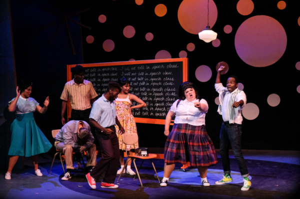 Bethany Slomka (Tracy), Kenneth Mosley (Seaweed) and the Company of Hairspray Photo