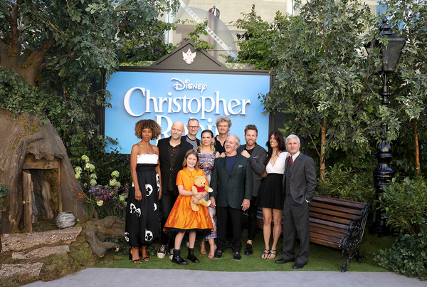 Sophie Okonedo, Marc Foster, Mark Gatiss, Bronte Carmichael, Hayley Atwell, Jim Cummings, Ewan McGregor, Simon Farnaby and Renee Wolf attend the European Premiere of Disney's 'Christopher Robin' at BFI Southbank on August 4, 2018 in London, England.  (Pho