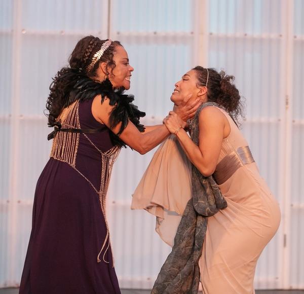 Sabra Williams (Tamora) and Katie Powers-Faulk (Lavinia) Photo