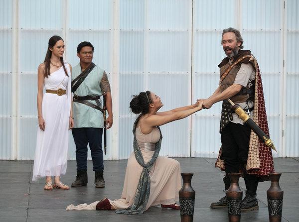 Rachel Li (Lucia), Jose Acain (Lucius), Katie Powers-Faulk (Lavinia), David Melville (Titus Andronicus)