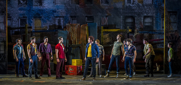 Sean Ewing, Tyler Hanes, and the cast of West Side Story