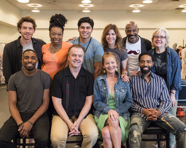 (back row) Will Hochman, Portia, Peter Mendoza, Amy Pietz, John Earl Jelks, director Lisa Peterson and (front row) Grantham Coleman, Michael O'Keefe, Mary Mara and Kevin T. Carroll