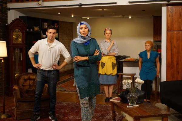 Alen Klapija, Ruslana Sokolovskaya, Tatyana Kot, and Polina Ionina in THE CHECHENS Photography by John Lee