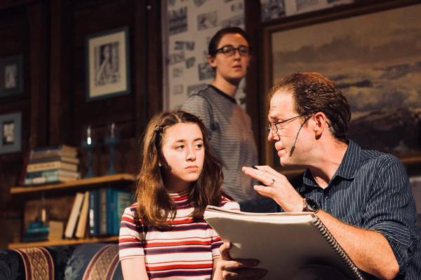 Mary Shalaby as Small Alison, Caitlin Teeley as Alison Bechdel, and Matt Passetto as Bruce Bechdel. Photo by Cody Lee Miller