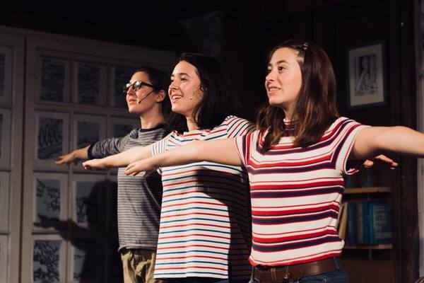 Caitlin Teeley as Alison Bechdel, Emma Foley as Medium Alison, and Mary Shalaby as Small Alison. Photo by Cody Lee Miller