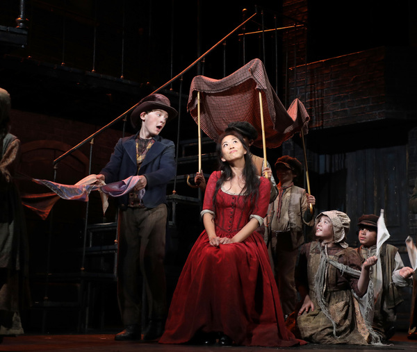 """�""""It's a Fine Life"""" Gavin Swartz (The Artful Dodger) and EJ Zimmerman (Nancy) with the cast of Goodspeed Musicals' Oliver!"""