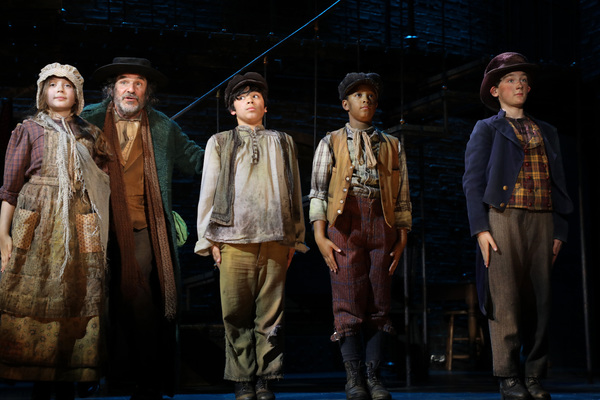 "Fagin's gang declare ""I'd Do Anything� Ava Loughlin, Donald Corren, Colin Soto, Owen Tabaka and Gavin Swartz in Goodspeed Musicals' Oliver!"