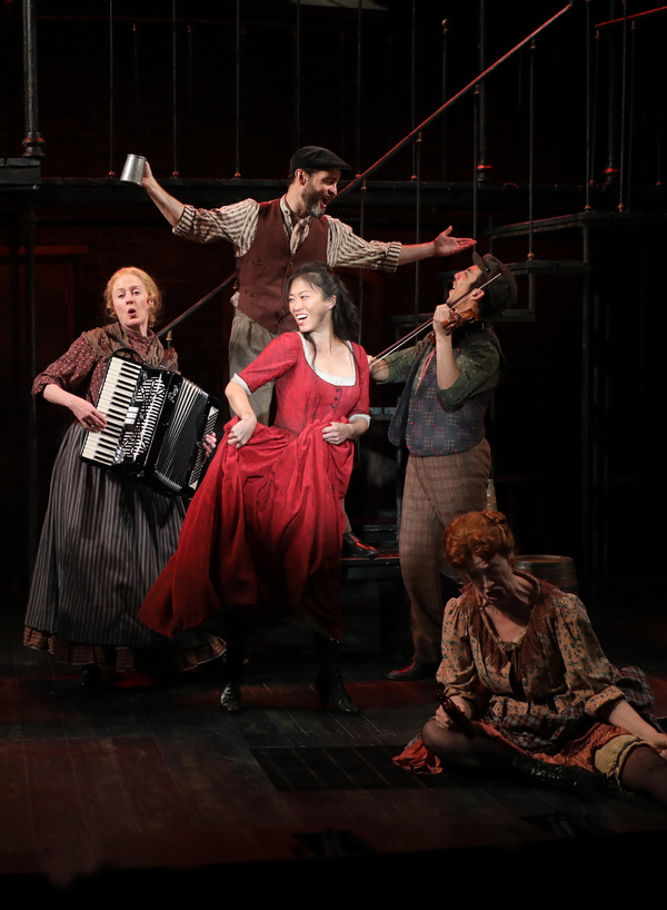 """Oom-Pah-Pah� EJ Zimmerman (Nancy) with Megan Loomis, Jamie LaVerdiere, Andrew Mayer and Karen Murphy in Goodspeed Musicals' Oliver!"