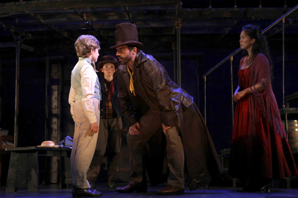 Elijah Rayman (Oliver Twist) and Brandon Andrus (Bill Sikes) with Gavin Swartz (The Artful Dodger) and EJ Zimmerman (Nancy) in Goodspeed Musicals' Oliver!