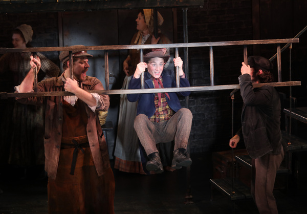 Gavin Swartz (The Artful Dodger) with Russell Rinker, Alex Stewart, Miranda Gelch and Shannon Lee Jones in Goodspeed Musicals' Oliver!