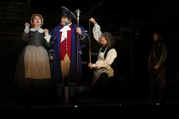 """""""That's Your Funeral� Karen Murphy (Mrs. Sowerberry), Richard Henry (Mr. Bumble), Jamie LaVerdiere (Mr. Sowerberry) and Elijah Rayman (Oliver Twist) in Goodspeed Musicals' Oliver!"""
