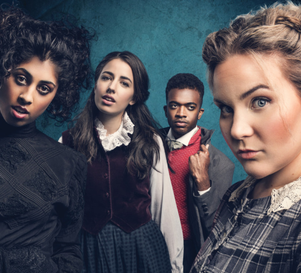 Siobhan Athwal as Emily Bronte, Molly Lynch as Anne Bronte, Matthew Jacobs Morgan as Branwell Bronte and Natasha Barnes as Charlotte Bronte