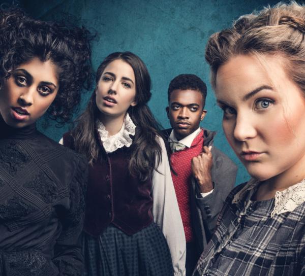 Siobhan Athwal as Emily Bronte, Molly Lynch as Anne Bronte, Matthew Jacobs Morgan as Branwell Bronte and Natasha Barnes as Charlotte Bronte