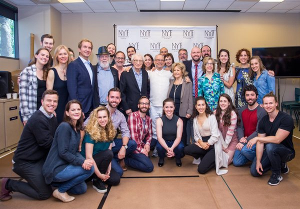Sheldon Harnick, Joel Grey, and Elisa Stein with Fiddler cast and creative team