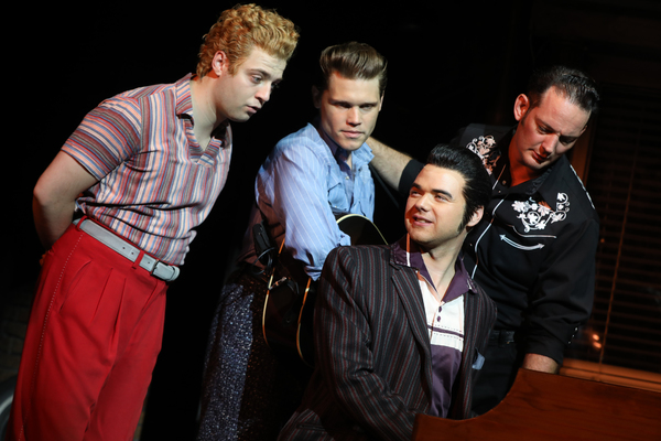Brandyn Day as Jerry Lee Lewis, John Michael Presney as Carl Perkins, Ari McKay Wilford as Elvis Presley, and Sky Seals as Johnny Cash