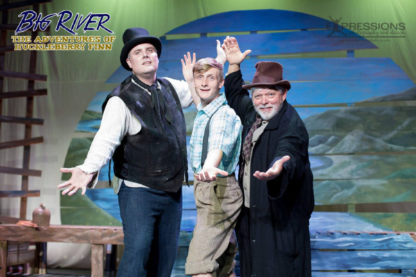 Travis Blatchley as The Duke, Brad Hayes as Huckleberry Finn and Dave Rickard as The  Photo