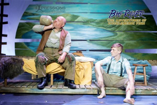 Timothy Brayman as Pap Finn and Brad Hayes as Huckleberry Finn