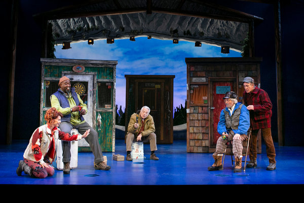 Leslie Stevens, Doug Eskew, Ed Dixon, Tony and Emmy winner Hal Linden, and Mark Jacoby in Grumpy Old Men the Musical at the Ogunquit Playhouse. Photo by Julia Russell.