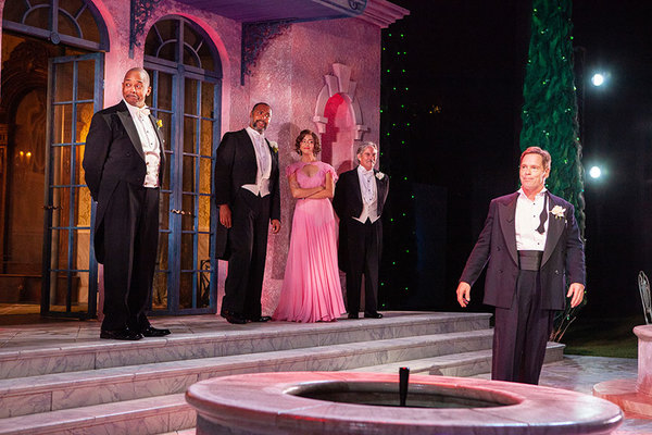 (from left) Michael Boatman as Don Pedro, René Thornton Jr. as Leonato, Morgan Taylor as Hero, James Newcomb as Antonio, and Michael Hayden as Benedick