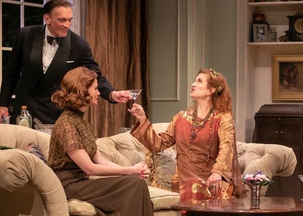 Brent Harris as Charles, Kate MacCluggage as Ruth and Tina Stafford as Madame Arcati Photo