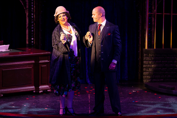 M. Hougland (Mary Sunshine) and Matthew J. Taylor (Billy Flynn) in CHICAGO at Theatre By The Sea thru September 9. Photos by Steven Richard Photography.