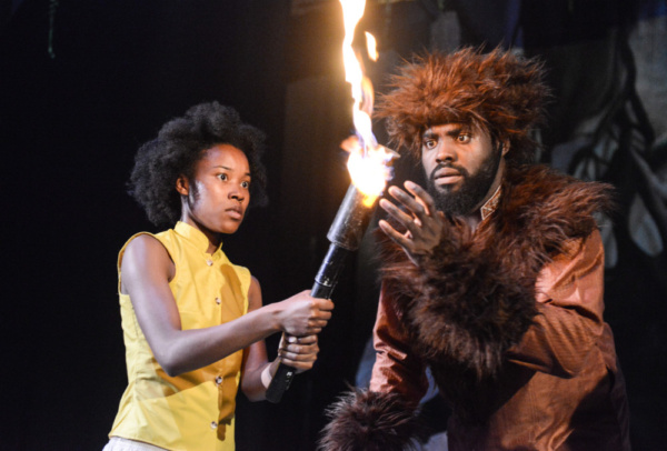 Antonia Elsona as Mowgli and Joseph Black as Baloo in The Jungle Book at Greenwich Th Photo