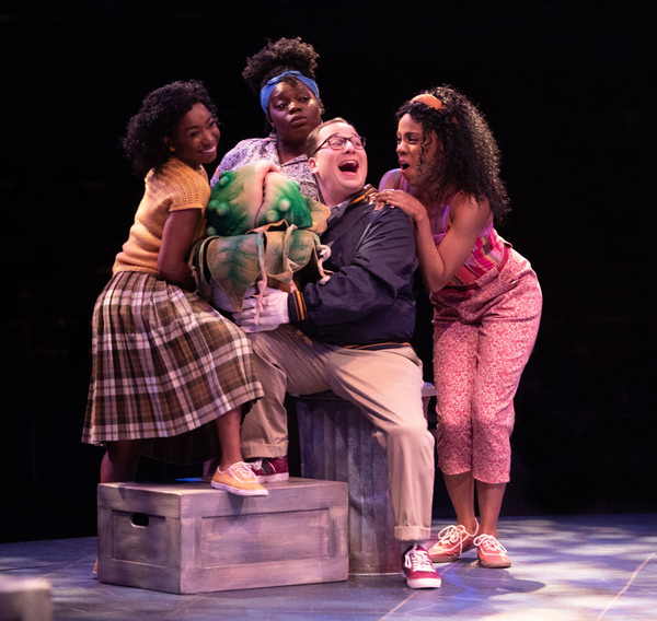 Destinee Rea as Chiffon, Zonya Love as Crystal, Jared Gertner as Seymour and Zuri Washington as Ronnette