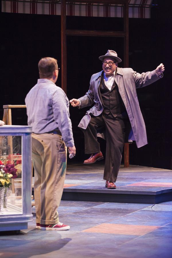 Jared Gertner as Seymour and Michael Kostroff as Mushnik Photo