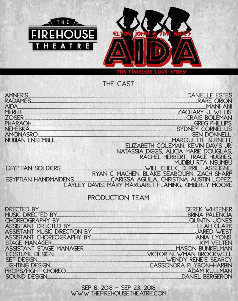Complete Casting Announced for AIDA at The Firehouse Theatre