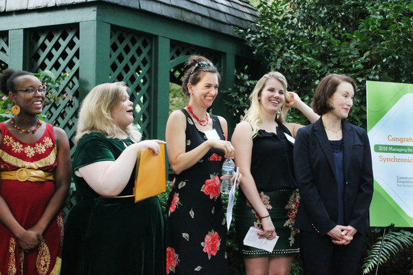 SynchronicIty Staffers Taryn Carmona, Emma Calabrese, Rachel May, Maddie Mahood and Lee Nowell accept their 2018 Managing for Excellence Award from the Community Foundation for Greater Atlanta