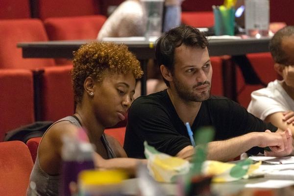 Choreographer Chanel DaSilva and Zack Winokur watching rehearsal of The Black Clown.