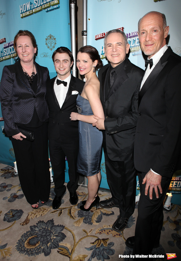 Daniel Radcliffe & Rose Hemingway with producers Craig Zadan & Neil Meron.attending the Opening Night Performance After Party for  'How To Succeed In Business...' in New York City.