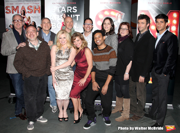 Scott Wittman, Marc Shaiman, Craig Zadan, Neil Meron, Megan Hilty, Savannah Wise. Mic Photo