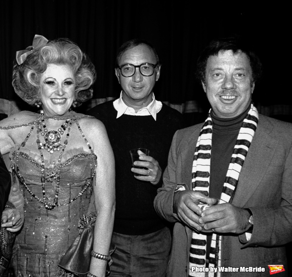 Cy Coleman with Neil Simon and Jessica James Attending a party after a performance of LITTLE ME at the Eugene O'Neill Theatre in New York City. November 1982
