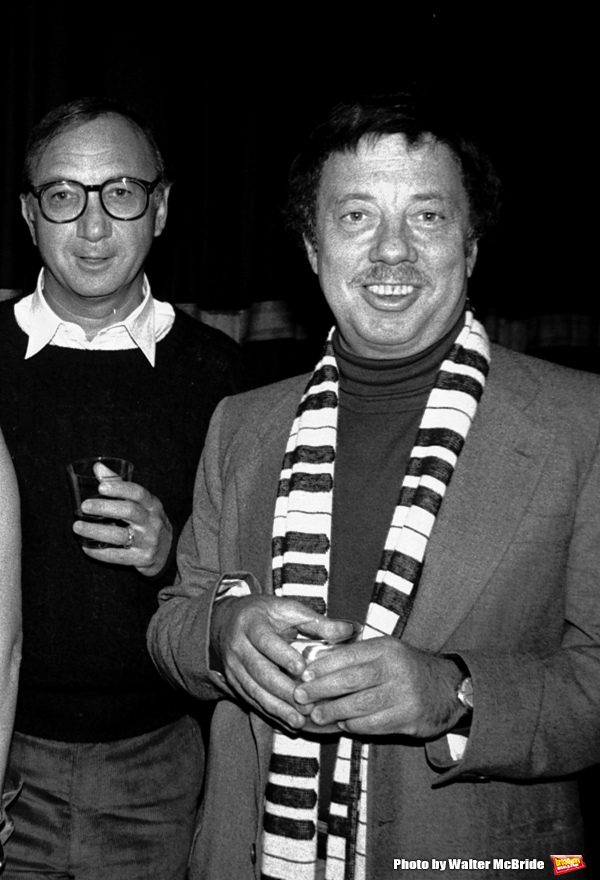 Neil Simon and Cy Coleman Attending a party after a performance of LITTLE ME at the Eugene O'Neill Theatre in New York City. November 1982