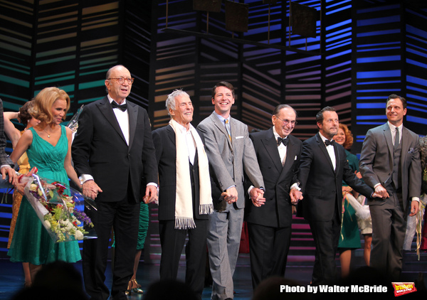 "Kristin Chenoweth, Neil Simon, Burt Bacharach, Sean Hayes, Hal David, Rob Ashford, Tony Goldwyn.taking a bow on the  Opening Night Broadway performance Curtain Call for ""PROMISES, PROMISES"" at the Broadway Theatre, New York City. April 25, 2010."