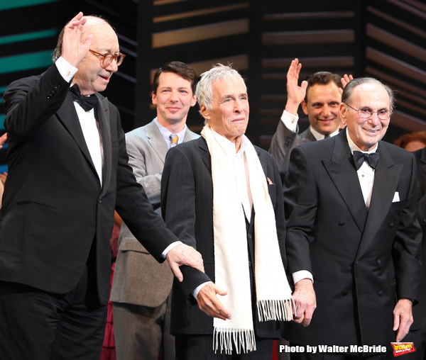 "Neil Simon, Sean Hayes, Hal David, Rob Ashford, Katie Finneran taking a bow on the  Opening Night Broadway performance Curtain Call for ""PROMISES, PROMISES"" at the Broadway Theatre, New York City. April 25, 2010."