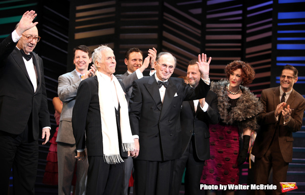 "Neil Simon, Burt Bacharach, Sean Hayes, Hal David, Rob Ashford, Tony Goldwyn.taking a bow on the  Opening Night Broadway performance Curtain Call for ""PROMISES, PROMISES"" at the Broadway Theatre, New York City. April 25, 2010."