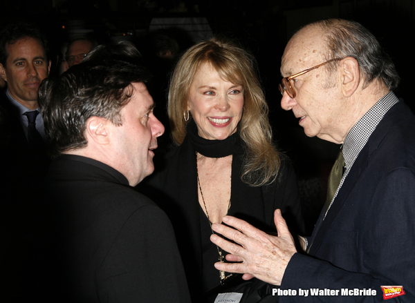 Nathan Lane with Neil Simon & Elaine Joyce attending  the Opening Night after party for the New David Mamet Play NOVEMBER at Restaurant Bond 45 in New York City. January 17, 2008